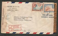 CURAÇAO 1940´S WWII DOUBLE CENSORED REGISTERED AIRMAIL COVER TO ARGENTINA