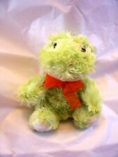 Lime Green Plush Frog Orange Bow Easter Decoration