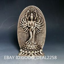 Chinese Silver Copper Handwork Carved Senju  Kwan-yin Statue   0049