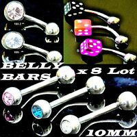 8 x Pcs GLOW in the Dark BELLY BARS & CRYSTAL Navel Tongue Rings BODY JEWELLERY