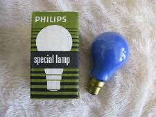 5x Blue Philips 40W B22 BC Bayonet Lamp Light Bulb 240V Old Style Brass Cap