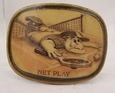"Net Play Fits 1.5"" Width Belt Tennis Novelty Belt Buckle Humorous Belt"