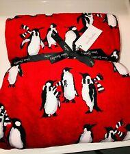 Vera Bradley *Playful Penguins Red* Fleece Super Soft Throw Blanket Nwt