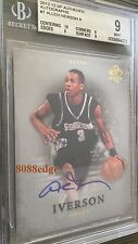 2012-13 SP AUTHENTIC AUTO: ALLEN IVERSON #7 ON CARD AUTOGRAPH HOYAS BGS 9 MINT