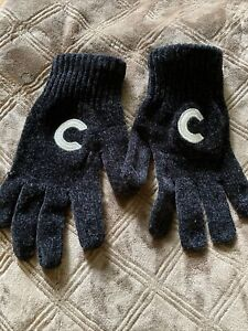 Ladies Gloves black velour knitted With Letter C In Silver Size M/L
