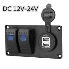 Car Caravan 2 GANG Circuit Blue LED Rocker Switch Panel Breaker Dual USB Charger