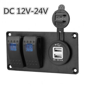 Car Caravan 2 GANG Circuit Blue LED Rocker Switch Panel Breaker Dual USB Charger