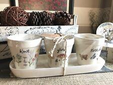 New Rae Dunn Artisan Collection Bloom Grow Flourish Planter Flower Pot Set of 3