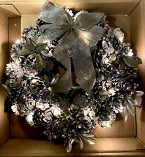 38cm Silver Christmas Wreaths with 20 led lights