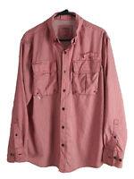 Cabelas Outdoor Button Up Shirt Mens Medium Red Check Long Sleeve Polyester Euc