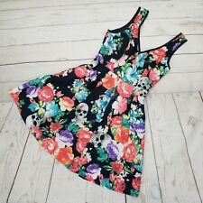 Iron Fist XS Roaming Hearts Floral Skull Fit Flare Skater Bow Dress Punk Pinup