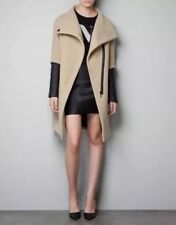 ICONIC GENUINE ZARA CAMEL WOOL OVERSIZED COAT FAUX LEATHER QUILTED SLEEVE SMALL