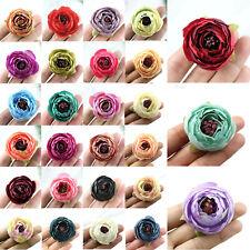 12/120Pc Artificial Silk Rose Flower Heads Bulks Fake Camellia DIY Wedding Decor