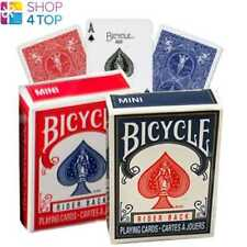 2 DECKS OF BICYCLE RIDER BACK MINI 1 BLUE AND 1 RED POKER PLAYING CARDS BOX CASE