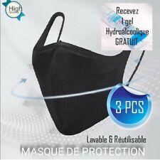 Masque de protection tissu noir lavable et réutilisable 3pcs + 1gel / ENVOIS24H