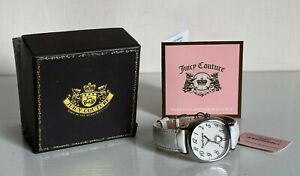 NEW! JUICY COUTURE SILVER-TONE DIAL WHITE GENUINE LEATHER STRAP WATCH $150 SALE