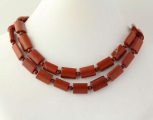 """New Chunky Beaded Necklace - sterling Silver Clasp Brown Jasper Stone Beads 30"""""""