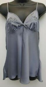 Sexy Lingerie Embroidered Babydoll Sleepwear Nightwear Gray Chemise Size Medium