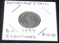 EXCELLENT 1997 Republique D' Haiti 5 Centimes Coin (BRILLIANT UNCIRCULATED)