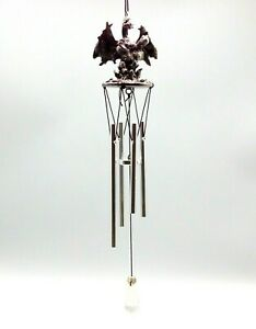 Gothic Wicca Metal Decor Winged Dragon Dream Catcher Windchime with Crystal