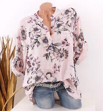 Bluse Damen Tunika 44 46 48 rosa Longbluse Fischerhemd Leinen Optik Blume Damen