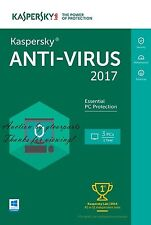 New Genuine Kaspersky Anti-Virus 2017 3 PCs 1 Year (Full License + Download)