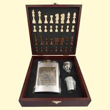 Coffret cadeau pour homme Armoiries URSS Le jeu d'échecs Flasque à alcool 210 ml