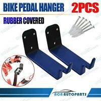 2x Carbon Steel 25KG Bike Pedal Wall Mount Hanger Cycling Storage Rack(Blue)