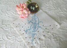 ViNtAgE Madeira Monogram D EMBROIDERY Applique & CUTWORK * BRIDAL WEDDING HANKY
