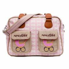 Pink Lining MAMA ET BEBE CREAM BOWS ON PINK Baby Changing Nappy Diaper Bag