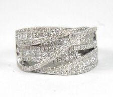 Round Diamond Bypass Criss Cross Cluster Ring Band 14k White Gold 2.09Ct