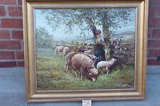 """sehr schönes Gemälde """" Bäuerin mit Schafen """" wohl  50er Jahre  signiert"""