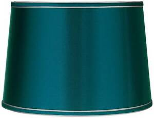 "Sydnee Satin Teal Blue Medium Drum Lamp Shade 14"" Top x 16"" Bottom x 11"" High"
