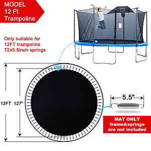 "127"" Replacement Mat Fit 12ft Trampoline 5.5"" Spring 72 Ring Jumping Surface"