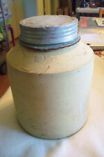 ANTIQUE ICE WATER COOLER 1 GALLON THERMOS POTTERY AND CERAMIC, ZINC LID
