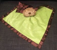 Baby Essentials Green Lovey Lion Rattle Security Blanket Brown Satin Back
