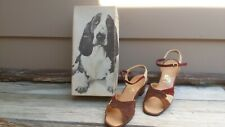 Vintage 70s womens Hushpuppies shoes open toe w/straps suede 8.5 M w/Box