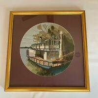 Vintage Crewel Finished Framed Mid Century Needlepoint Steamboat Riverboat