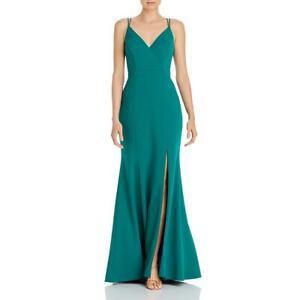 Aqua Womens Side Slit V-Neck Scuba Formal Dress Gown BHFO 5976