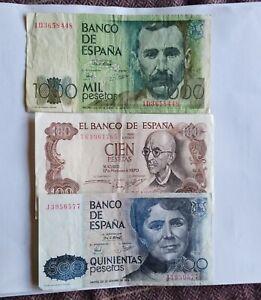 Banco de Spain 1000 Pesetas 1979 500 1979 & 100 1970