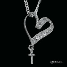 Sterling Silver CZ Heart Pendant Bail Connector with Bead Cup #99070