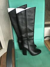 Faux Leather Knee High Boots 5 Inch Heel