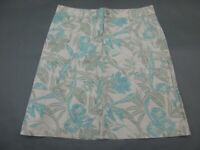 Eddie Bauer Size 10 Womens Tan Floral Cotton Stretch A-Line Skirt 627