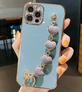 MOBILE PHONE CASE/COVER APPLE IPHONE 11 BLUE/GREY/GOLD VELVET HEARTS HAND CHAIN