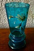 kunstvolle Malerei auf blauen Glas altes Sammelglas mit Goldrand unten Blauglas