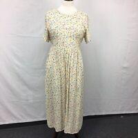 VTG 90s Erika Studio Women's Petite Yellow Floral Prairie Grunge BOHO Dress