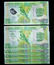 5 x Gambia 20 Dalasis  2014/2015, P-30 Polymer-commemorative banknotes