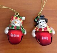 Hallmark Jingle Bell Snowman Personalized Ornament Names Beginning with A