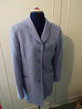 JAEGER BLUE LINEN AND SILK TROUSER SUIT - JACKET SIZE 8/TROUSERS SIZE 10