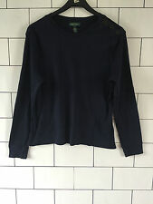 WOMEN'S RALPH LAUREN URBAN VINTAGE RETRO NAVY LONG SLEEVED T SHIRT TOP UK 14/16